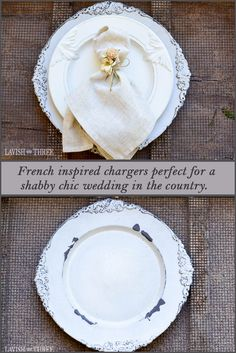 Invite a charming country feel to any table setting with these French-inspired chargers. The chic white lace color combined with the timeworn finish reminded us of a picnic setting along the French countryside. Perfect for a shabby chic wedding in the country! Email us for quantity discounts.