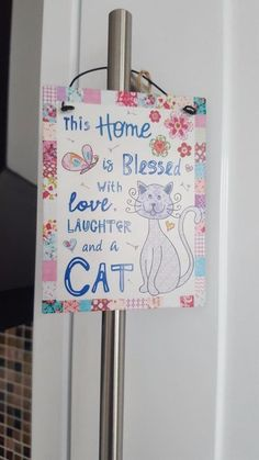 SHABBY COUNTRY  STYLE CHIC METAL MINI SIGN HOME IS BLESSED WITH LOVE AND A CAT