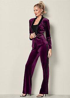 velvet pant suit set