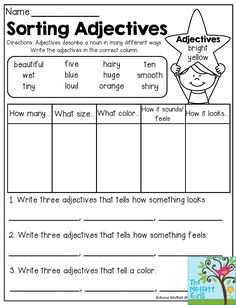 Sorting Adjectives- Adjectives describe a noun in many different ways. Write the adjectives in the correct column.  Fun grammar review for 2nd grade!