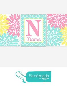 Baby Girl Nursery Wall Art Pink Yellow Aqua Teal Flowers Mums Dahlia Bursts Personalized Toddler Tween Ross Canvasd Cor