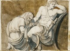 Johann Heinrich Fuseli - King Priam begging Achilles for the body of Hector. Tags: trojan war, iliad, priam, priamos, achilles, achilleus, hector, hektor,