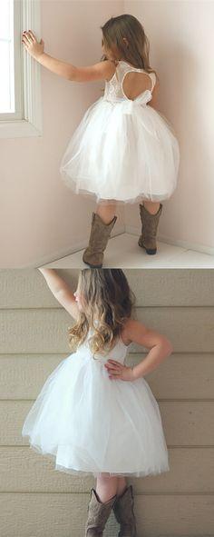 white flower girl dress, short flower girl dress, cute flower girl dress, country flower girl dress