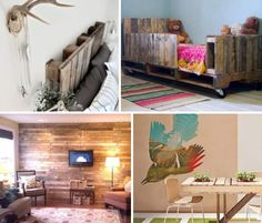 "Kinda like the ""pallet wall"".  Love the rustic-ness of it!  Not so keen on the nursery pallet wall with the white deer head hanging right over the crib!! Rustic, Modern, Reclaimed & Free: 13 DIY Pallet Projects 