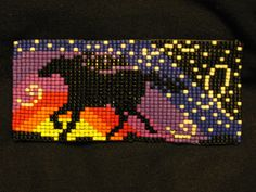 Beaded Hair Barrette Loom Starry Sunset Mesa Running Horse Silhouette on Deer Leather. $65.00, via Etsy.