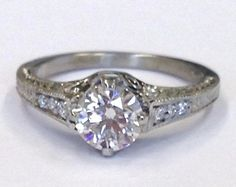 Edwardian Style Custom Engagement Ring with a ct Round Brilliant Cut Centre Edwardian Style, Edwardian Fashion, Custom Made Engagement Rings, Custom Jewelry Design, Centre, Fine Jewelry, Jewels, Unique, Jewerly
