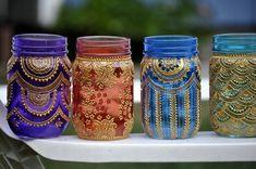 Set of 6 Bohemian Moroccan Mason Jar Tinted Lanterns Lighting Decorated With…