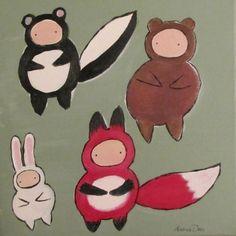 Woodland Childrens Art,  Whimsical Nursery Decor, Skunk Fox Bear Rabbit, Original Acrylic Painting