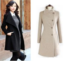 Free Fhipping,New Fashion Women's Slim Wool Single-breasted  Coat Winter,Gray/black,S / M / L \XL Retail