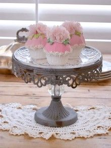 Antique Grey Cake Stand with Glass Plate