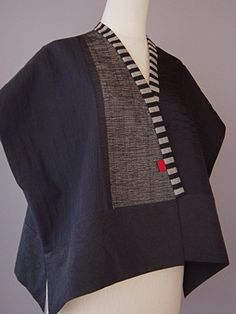 Draped Collar Vest Blue and Black  Juanita Giardin
