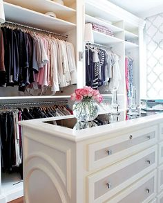 Dream closet- with a window ❤❤❤  Love the mirrored top island...
