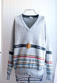 f4fa12d1260 Vintage Mens Sweater 80s Abstract Pullover Size XL 56-58