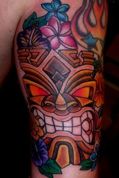 tattoo old school / traditional nautic ink - tiki and hibiscus ...