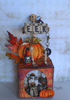 Specializing in Mixed Media Art. Creating Technique Rich tutorials using products like Ranger Ink, Sizzix, Tim Holtz, Dynasty Brushes. Halloween Paper Crafts, Halloween Lanterns, Halloween Projects, Halloween Crafts, Holiday Crafts, Halloween Decorations, Halloween Shadow Box, Halloween Scrapbook, Halloween Pictures