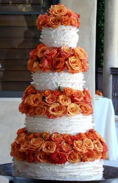Frilly Cake with Orange Rose Tiers by The Butter End Cakery, Santa Monica, CA Textured Wedding Cakes, Beautiful Wedding Cakes, Gorgeous Cakes, Amazing Cakes, Wedding Cakes With Cupcakes, Cupcake Cakes, Cupcake Ideas, Santa Monica Ca, Wedding Cake Inspiration