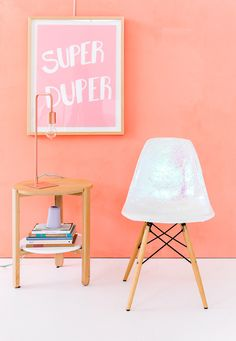 Get this darling holographic chair DIY on LaurenConrad.com