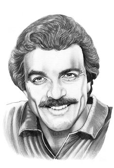 Tom Selleck by Murphy Elliott ~ traditional pencil art