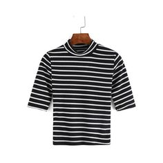 SheIn(sheinside) Black White Stand Collar Striped T-Shirt ($7.99) ❤ liked on Polyvore featuring tops, t-shirts, black, striped crew neck t shirt, summer tops, stripe tee, striped crew neck tee and 3/4 sleeve tops