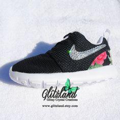 sale retailer 1bbc8 2b89b ... free shipping blinged infant toddler black nike roshe run shoes w red  flower print heel made