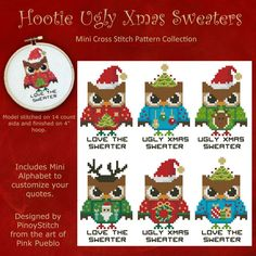 Make it a funny Christmas by stitching these Hooties wearing Ugly Christmas Sweaters. Finish in a 4 inch hoop for a gift or insert in card window.