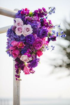 radiant orchid wedding ceremony arch decoration