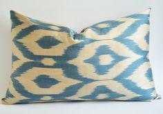 Sukan   Hand Woven Original Silk ikat Pillow Cover - Blue e853deade66