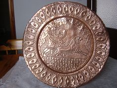large hand hammered copper wall plaque north by alomartesantiques