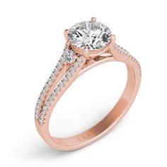 There are a total of 58 stones. There are round diamonds with a total carat weight of set in a Micro Prong / Prong Set setting. This ring is sold by Jensen Jewelers. Split Shank Engagement Rings, Classic Engagement Rings, Beautiful Engagement Rings, Engagement Ring Styles, Rose Gold Engagement Ring, Halo Engagement, Quality Diamonds, Or Rose, Fine Jewelry
