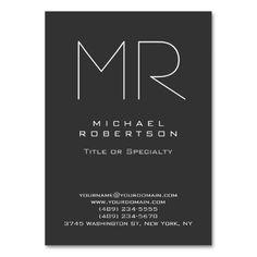 Chubby Modern Monogram Gray White Business Card Custom Cards Maker