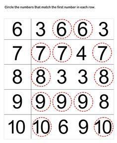 Preschool Worksheets, Number Matching Worksheets for Preschoolers