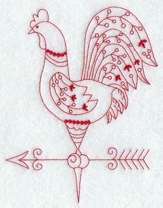 So pretty.  I love redwork...if I just had time to stitch Country Rooster IV (Redwork)