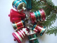 8 Vintage Shiny Brite Mercury Glass Bell Lantern Christmas Ornaments | eBay