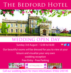 Join us this Sunday August at our next Open Day from See our Gallery 26 dressed to impress by our recommended wedding suppliers. Call 01822 243145 for more information The Bedford, Tavistock, Free Entry, Opening Day, Wedding Reception, Join, Sunday, Events, Gallery