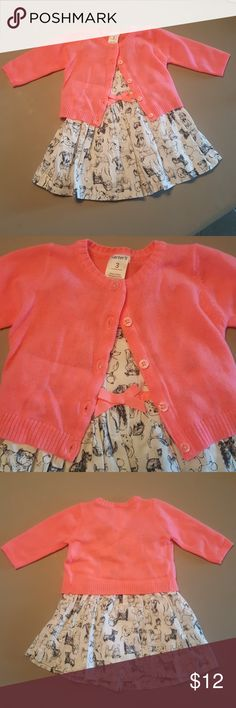SWEETEST Cardigan Dress Set Perfect condition.. Size 3 months... puppy print Carter's Dresses Casual