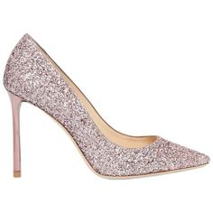 Jimmy Choo Women 100mm Romy Glittered Pumps ($805) ❤ liked on Polyvore featuring shoes, pumps, rose, leather pumps, pointy toe high heel pumps, rose shoes, glitter pumps and leather pointed toe pumps