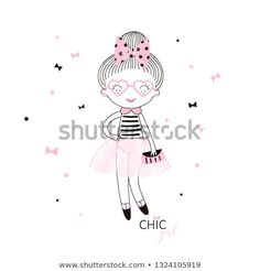 Cute little french girl in pink transparent skirt dotty bow in her hair heart shaped glasses and small handbag. Simple minimalistic vector doodle illustration for girls. Perfect for textile apparel t Heart Shaped Glasses, Doll Drawing, Selling Design, French Girls, Royalty Free Photos, Pink Girl, Create Yourself, Doodles, Girly