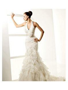 Mermaid Halter Empire Waist Pleated Long Satin Ivory Plus Size Wedding Dresses