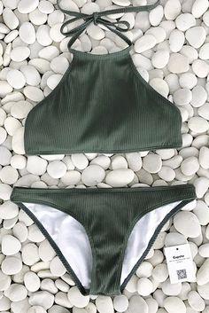Cupshe Matcha Ice Cream Halter bikini Set