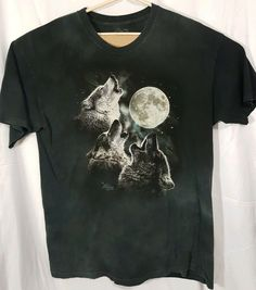 409117a4 2007 The Mountain Men's Three Wolf Moon Black tie dye Graphic T-Shirt made  in