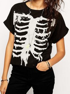 Wholesale Short sleeve skeleton pattern loose t shirt HY-142134293 - Lovely Fashion