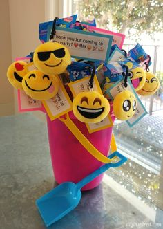 Emoji Party Favors and free printable for a summer birthday pool party