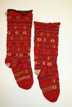 Socks  Date: 20th century Culture: Bulgarian Medium: wool Dimensions: Length (heel to top): 14 in. (35.6 cm) Credit Line: Gift of Mrs. M. A. Gordon, 1948 Accession Number: C.I.48.37.7a, b - afterthought heels, soles are different from fronts of sock! Also, beginning/end of round is at side of leg/foot.