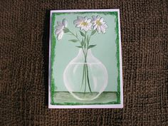 Stitched Daisies Card Hand Painted and Hand by LisasPaintedCrafts, $5.50