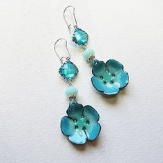 Flower dangle earrings, aqua turquoise mint green beach jewelry, bohemian jewelry via Etsy