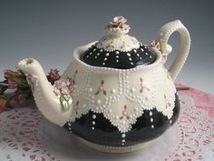 Vintage Lace Teapot by RomancingTheTeapot on Etsy, $54.95