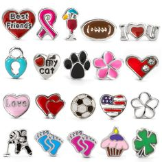 Shop sports, best friend and pet enamel floating charms to add to an Eve's Addiction floating charm necklace! Locket Bracelet, Locket Charms, Arrow Necklace, Floating Lockets, Floating Charms, Four Leaf Clover, Pink Love, Initial Charm, Love Heart