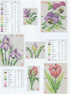 little flowers -- iris, pansy, tulip Counted Cross Stitch Patterns, Cross Stitch Designs, Cross Stitch Embroidery, Embroidery Patterns, Small Cross Stitch, Cross Stitch Flowers, Cross Stitch Boards, Cross Stitch Pictures, Crochet Cross