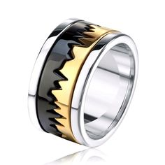Stainless Steel Ring With Gold And Black Plated Rotating. Various Sizes. Ring Comes In A Velvet Bag. Center Band. Band Is 11mm Wide. | eBay!