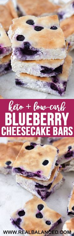 These Low-Carb Blueberry Cheesecake Bars are a deliciously tart dessert to satisfy your sweet tooth! These bars are low-carb, keto, gluten-free, grain-free, vegetarian, refined-sugar-free, and contain only 3g net carbs per serving! #lowcarb #keto #glutenfree #grainfree #vegetarian #refinedsugarfree #vegetarianketo #ketodessert #lowcarbdessert